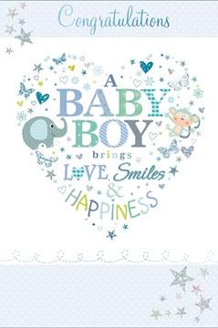 "Birth Of Baby Boy Greetings Card - Blue Monkey, Elephant & Glitter Stars 9"" x 6"""