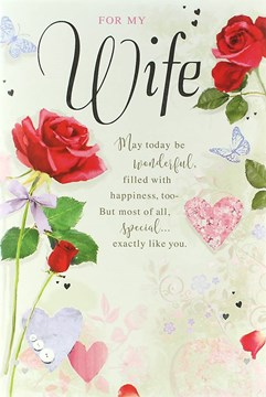 """Wife Birthday Card - Silver Text, Red Roses, Pink Hearts & Butterflies 9"""" x 6"""""""