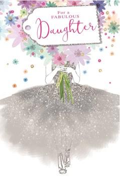 "Daughter Birthday Card - Hot Pink Glitter Text & Bright Flower Bouquet 9"" x 6"""