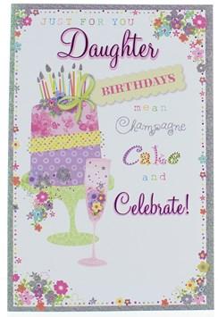 "Daughter Birthday Card - Birthday Cake Champagne Flute Flowers & Glitter 9"" x 6"""
