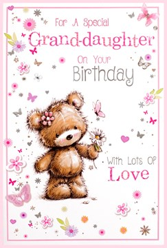 "Granddaughter Birthday Card - Brown Bear, Butterflies, Flowers & Hearts 9"" x 6"""
