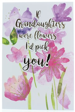 """Granddaughter Birthday Card - Pink & Purple Flowers With Gold Foil Writing 9x6"""""""