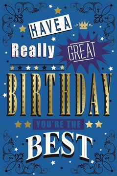 """Open Male Birthday Card - Dark Blue Text, Swirls, Crown & Little Stars 9"""" x 6"""""""