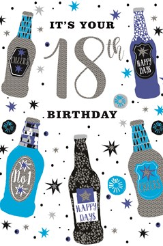 """Age 18 Male Birthday Card - Blue and Silver Foil Beer Bottles and 18th 9"""" x 6"""""""