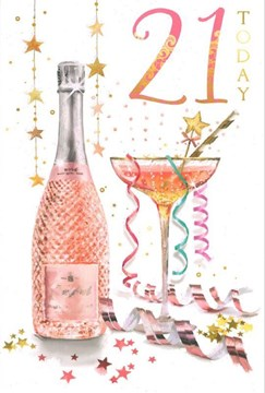 "Age 21 Female Birthday Card - Pink Glitter Numbers, Cocktail & Flowers 9"" x 6"""