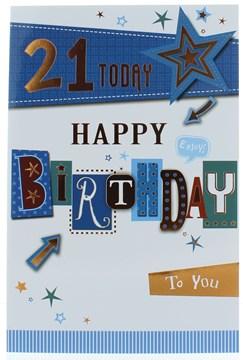 "Age 21 Male Birthday Card - Green & Blue Writing  Arrows Stars & Foil  9"" x 6"""