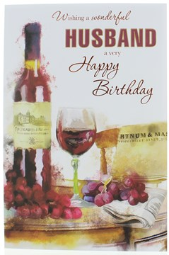 """Husband Birthday Card - Red Wine & Grapes With Foiled Writing 9.75x6.75"""""""