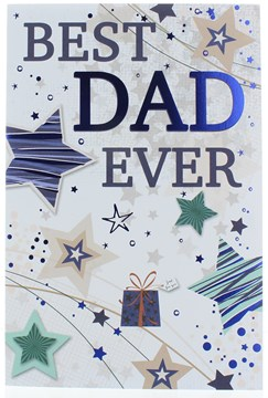 "Dad Birthday Card - Big Blue Text With Stars & Foil Detail  9"" x 6"""