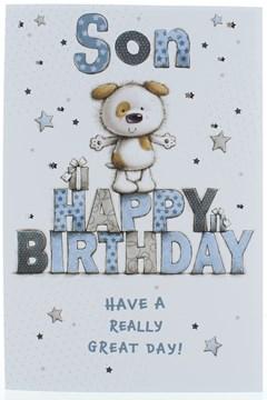 """Son Birthday Card - Cute Dog on Big Blue & Grey Writing  9"""" x 6"""""""