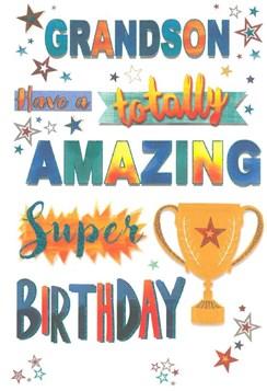 "Grandson Birthday Card - Gold Trophy Multicoloured Text Stars & Glitter 9""x6"""