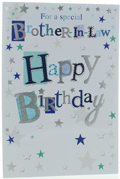 Brother-in-Law Birthday Card - Blue and Green Writing Stars and Silver Foil 9x6""