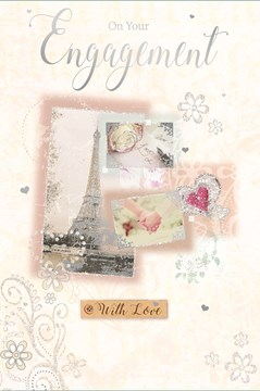 """Engagement Greetings Card - Silver Eiffel Tower, Letter, Heart & Flowers 9"""" x 6"""""""