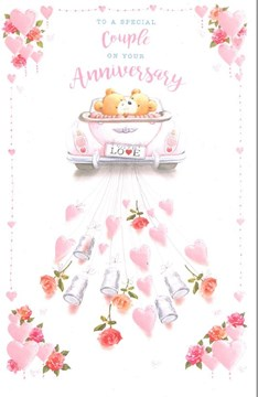 "Open Wedding Anniversary Card - Brown Bears, Pink Car, Hearts & Roses 9"" x 6"""
