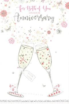 "Open Wedding Anniversary Card - Champagne Flutes, Flowers & Glitter 9"" x 6"""
