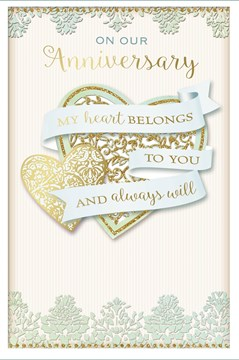 "Our Anniversary Greetings Card - Gold Glitter Hearts & Light Blue Signs 9"" x 6"""