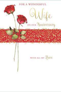"Wife Wedding Anniversary Card - Gold Metallic Text, Swirls & Red Roses 9""x6"""