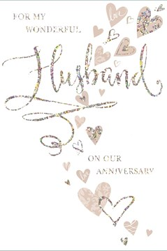Husband Wedding Anniversary Card - Beige Hearts With Silver Foiled Writing  9x6""