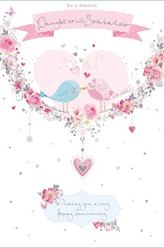 """Daughter & Son-in-Law Anniversary Card - Love Birds Pink Heart Silver Foil 9x6"""""""