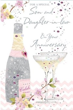 """Son & Daughter-in-Law Anniversary Card - Champagne Bottle & Pale Flowers 9"""" x 6"""""""