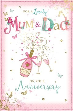 Mum & Dad Wedding Anniversary Card - Champagne Bottle Glasses Gold Foil 9x6""