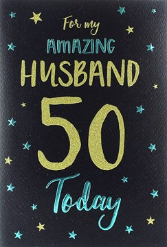 "ICG Husband 50th Birthday Card - Electric Blue Text & Gold Glitter Stars 9"" x 6"""