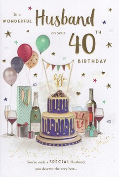 """ICG Husband 40th Birthday Card - Champagne Cake and Balloons with Gold Foil 9x6"""""""