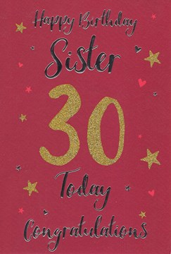 """ICG Sister 30th Birthday Card - Red Background Gold Glitter '30' 9""""x6"""""""