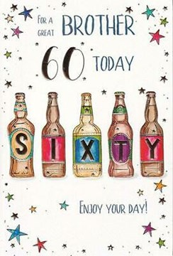 "ICG Brother 60th Birthday Card - Light Blue 60 Today & Gold Text Circles 9"" x 6"""