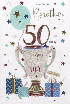 """ICG Brother 50th Birthday Card - Trophy & Presents with Gold Foil Detail 9"""" x 6"""""""
