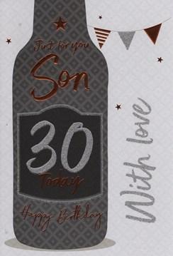 "ICG Son 30th Birthday Card - Black Bottle, Silver Bunting & Bronze Stars 9"" x 6"""