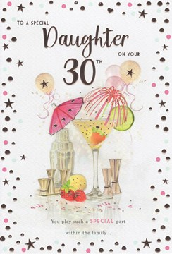 """Daughter 30th Birthday Card - Cocktail with Balloons and Rose Gold Foil 9"""" x 6"""""""