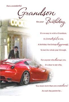 "ICG Grandson Birthday Card - Man & Red Sports Car Outside Cocktail Bar 9"" x 6"""