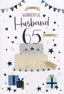 "ICG Husband 65th Birthday Card - Silver Cake, Bunting, Presents & Stars 9"" x 6"""