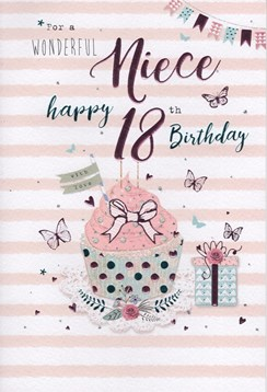"ICG Niece 18th Birthday Card - Pink Cupcake, Gift, Roses & Butterflies 9"" x 6"""