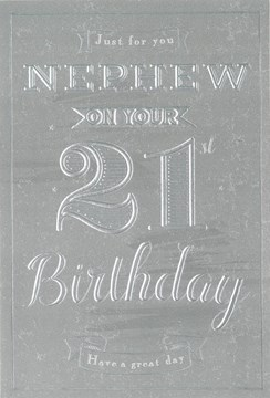 "ICG Nephew 21st Birthday Card - Silver Metallic Text & Little Grey Stars 9"" x 6"""