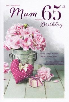 "ICG Mum 65th Birthday Card - Pink Carnations, Big Heart & Little Present 9"" x 6"""