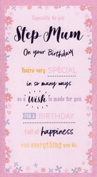 "ICG Stepmum Birthday Card - Purple Text, Little Flowers & Pink Border 9"" x 5"""