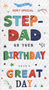 "ICG Stepdad Birthday Card - No 1 Dad Trophy & Blue Metallic Stars 9"" x 5"""