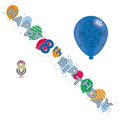 Age 8 Unisex Birthday Party Pack - 8th Banner, Balloons, Number Candle