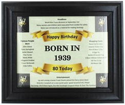 2020 80 Today Happy Birthday Print & Black Photo Frame - 1940 Was A Special Year