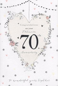 "ICG Platinum 70th Wedding Anniversary Card - Silver Text, Roses & Hearts 9"" x 6"""