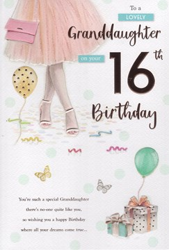 """ICG Granddaughter 16th Birthday Card - Woman, Pale Pink Dress & Presents 9"""" x 6"""""""