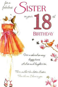 "Sister 18th Birthday Card - Young Woman, Orange Dress, Bird & Flowers 9"" x 6"""