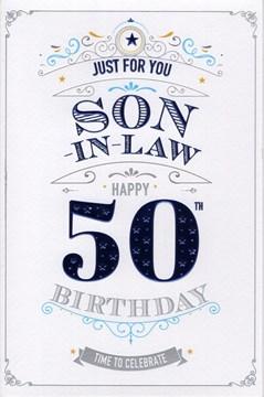 "ICG Son-in-Law 50th Birthday Card - Dark Blue Text, Swirls & Gold Stars 9"" x 6"""