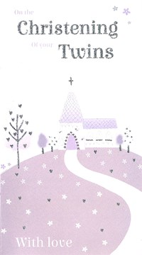 "ICG Twins Christening Day Greetings Card - Grey Church, Trees & Flowers 9"" x 5"""