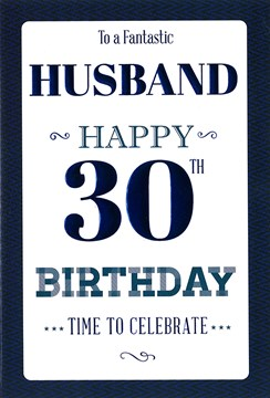 "ICG Husband 30th Birthday Card - Dark Blue Diagonal Stripe Border & Text 9"" x 6"""