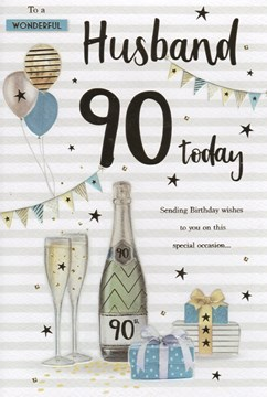 ICG Husband 90th Birthday Card - Champagne Bunting Balloons with Gold Foil  9x6""
