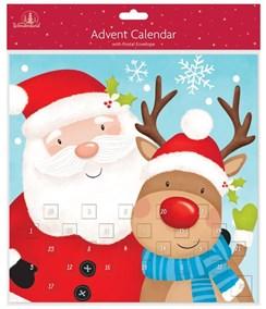 """Children's Christmas Advent Calendar - Cute Santa Claus & Rudolph 11"""" x 11"""""""