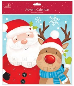 "Adult's Christmas Advent Calendar - Cute Santa Claus & Reindeer 11"" x 11"""