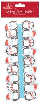 Pack Of 18 Novelty Christmas Card Holder Pegs & Blue Ribbon - Festive Penguins